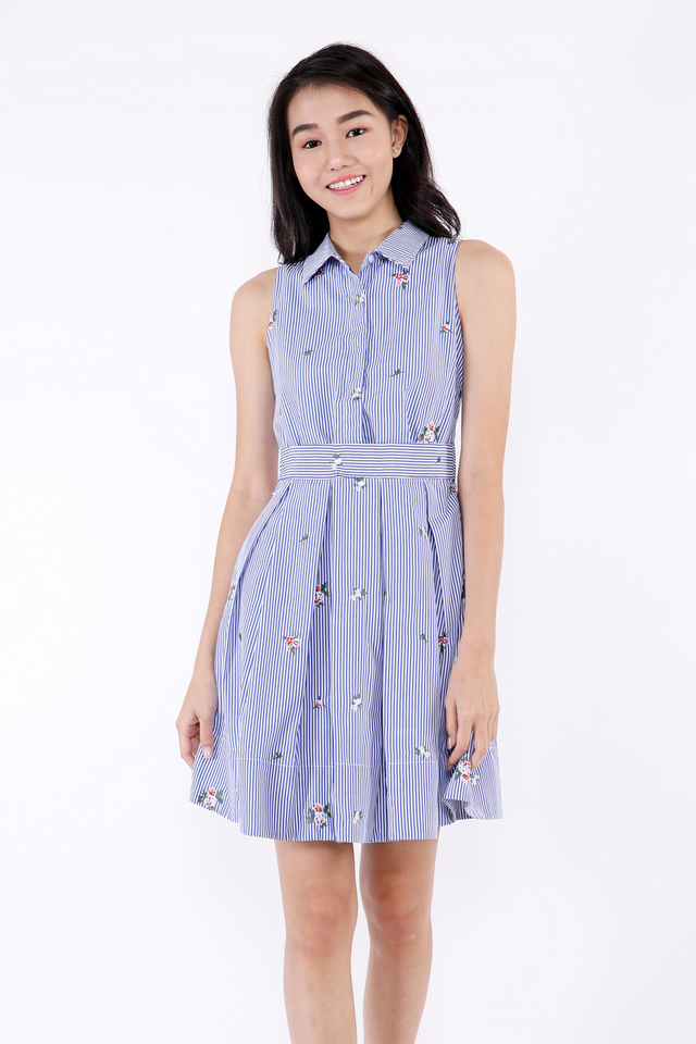 Briten Dress (Floral Stripes)