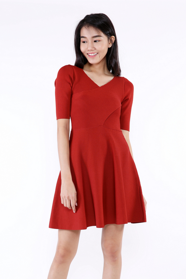 Bernett Sleeved V Neck Knit Flare Dress (Rust)