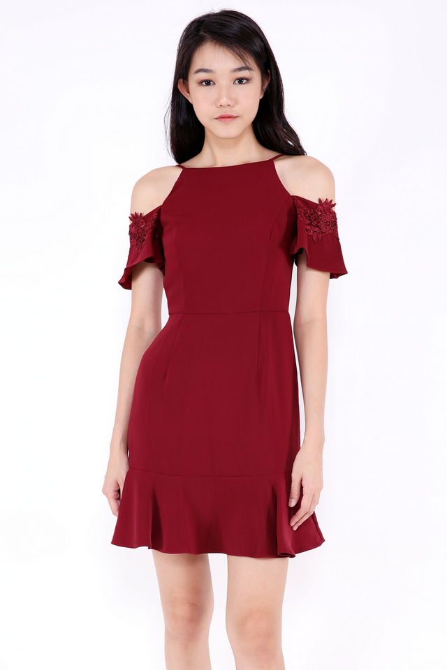 Monica Flutter Sleeve Dress (Wine)