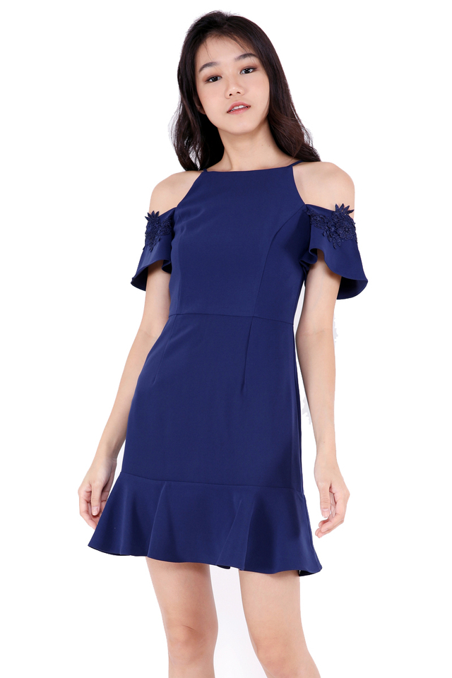 Monica Flutter Sleeve Dress (Navy Blue)
