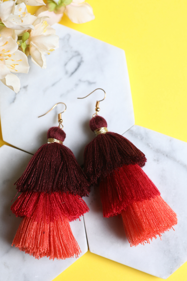 Tri Layered Tassel Earrings (Red)