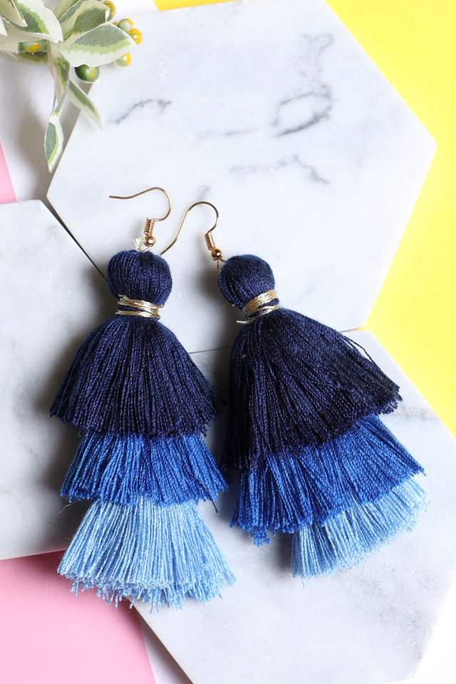 Tri Layered Tassel Earrings (Blue)