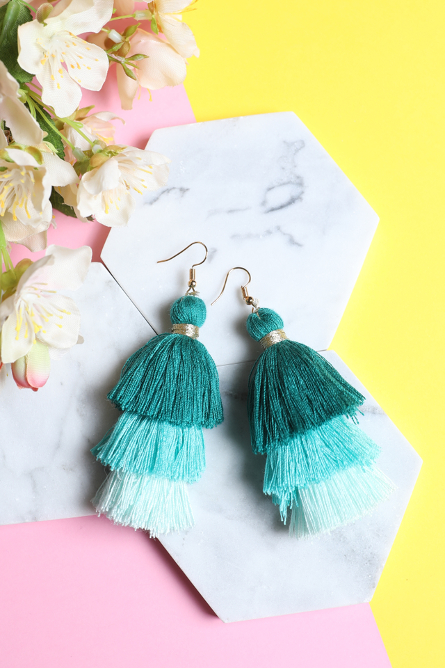 Tri Layered Tassel Earrings (Green)