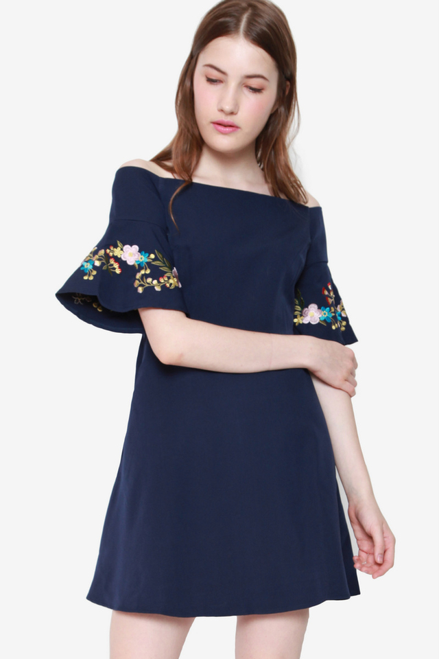 Maribel Trumpet Sleeve Off-shoulder Dress (Navy Blue)