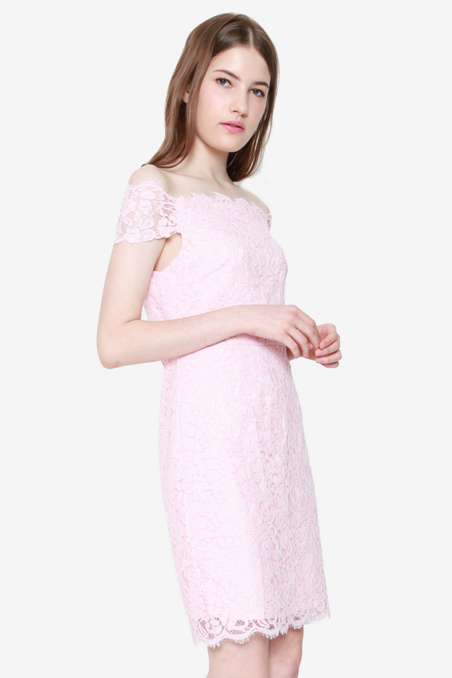 Shelia Off-shoulder Lace Dress (Pink)