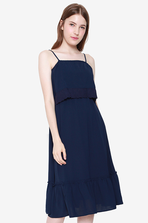 Lucille Tier Eyelet Dress (Navy Blue)