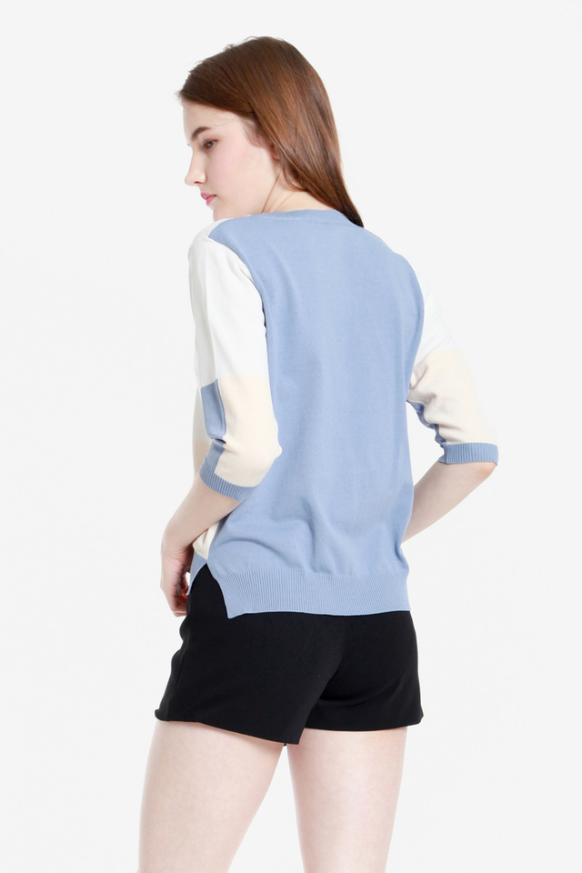 Annie Sleeved Knit Top (Blue)