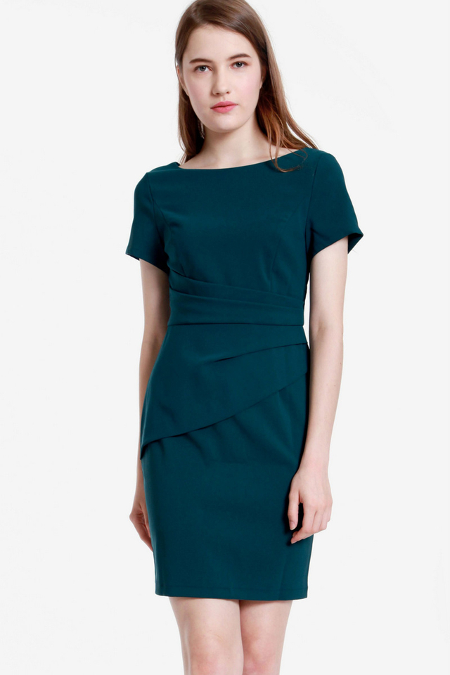 Milne Sleeved Work Dress (Forest Green)