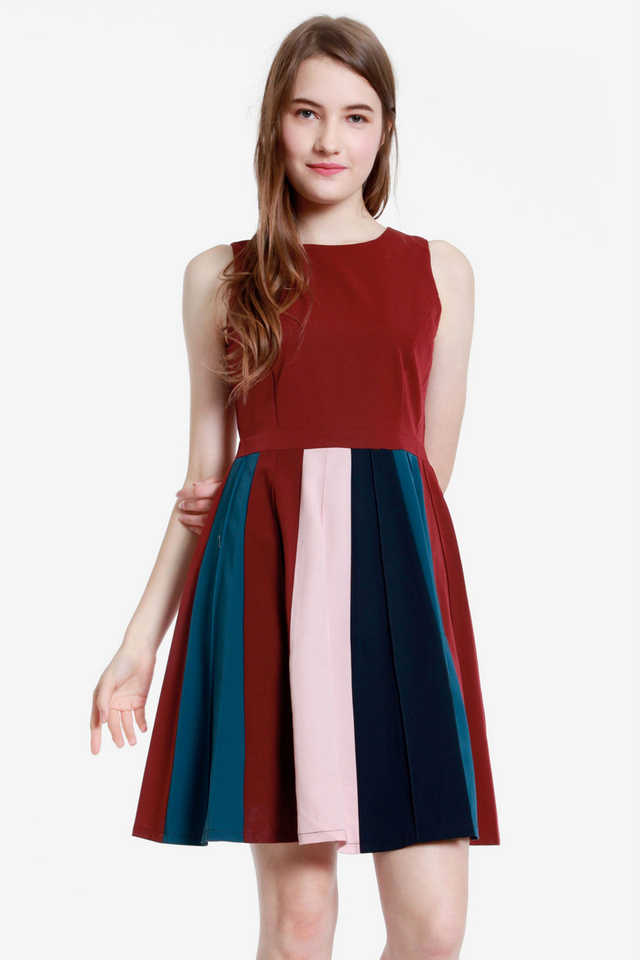 Asher Panels Fit and Flare Dress (Wine)