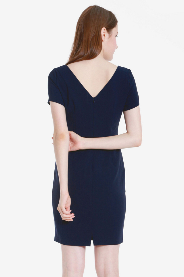 Milne Sleeved Work Dress (Navy Blue)