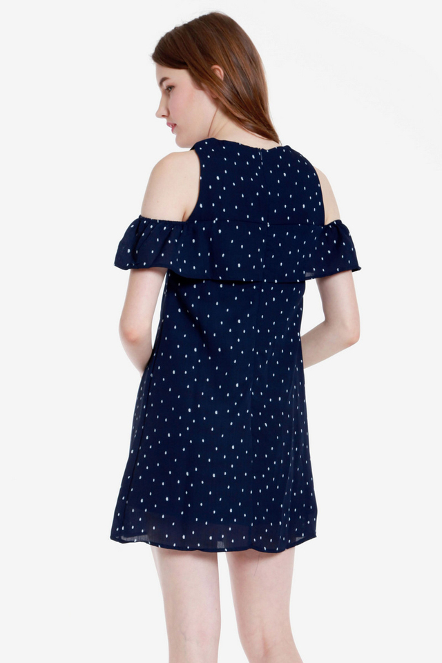 Arnetta Polka Dot Cold Shoulder Dress