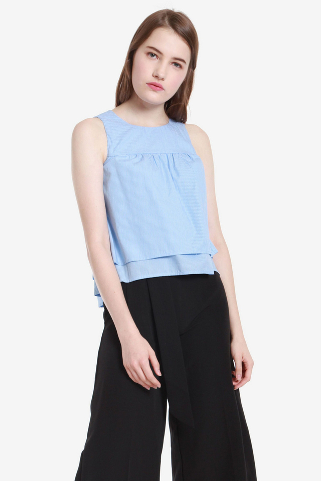 Ema Double Layer Top (Blue Stripes)