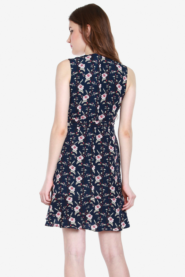 Kimble Floral Wrap Dress (Blue)
