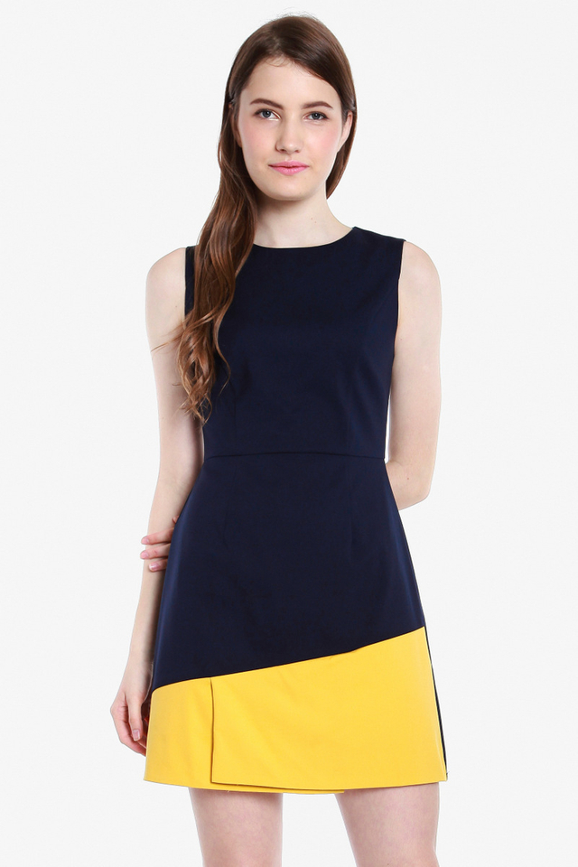 Selina Colourblock Dress (Navy/Yellow)