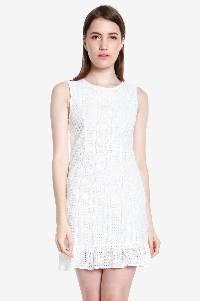 Janssen Eyelet Ruffle Hem Dress (White)