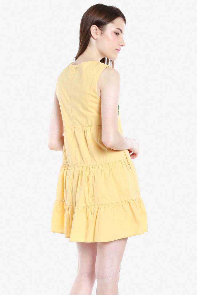 Michelina Embroidery Tier Dress (Yellow)