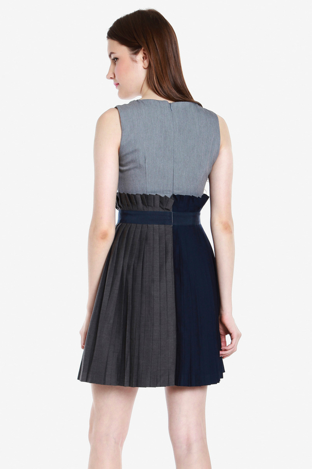 Yadira Pleated Paperbag Dress (Grey)