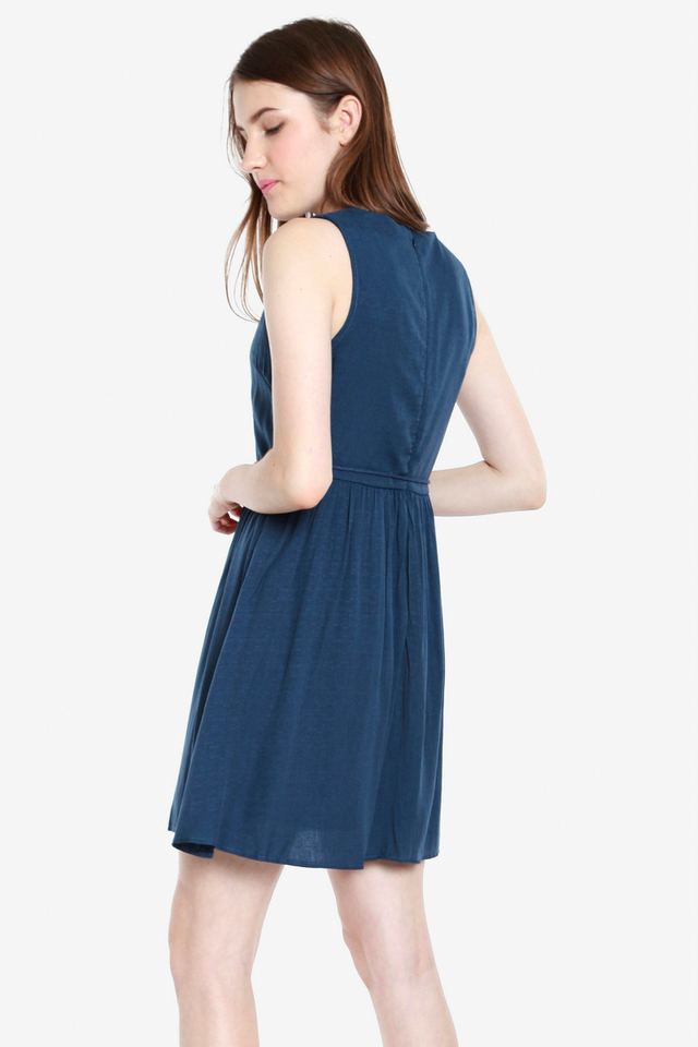 Jemma Eyelet Bib Tassel Dress (Dark Blue)