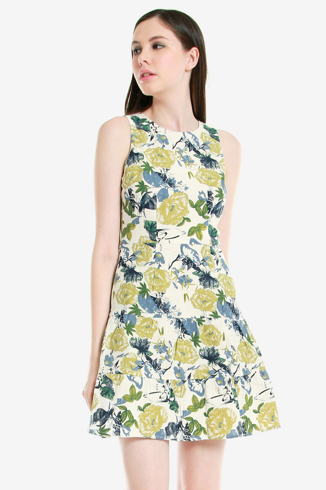 Brett Floral Tier Dress (Green)