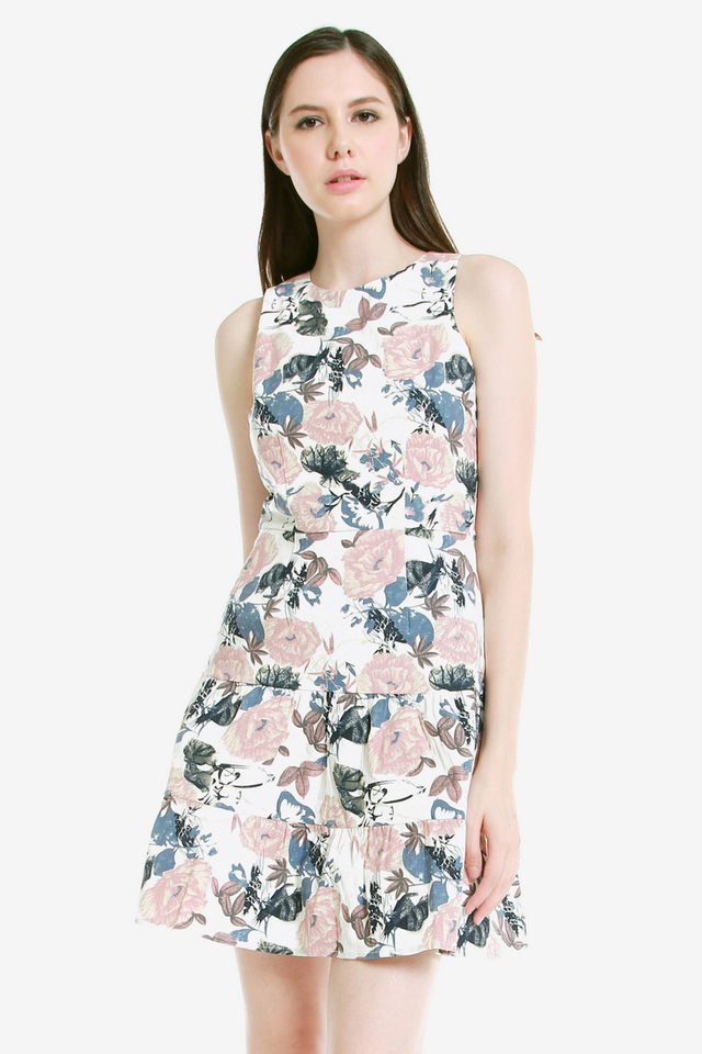 Brett Floral Tier Dress (Pink)