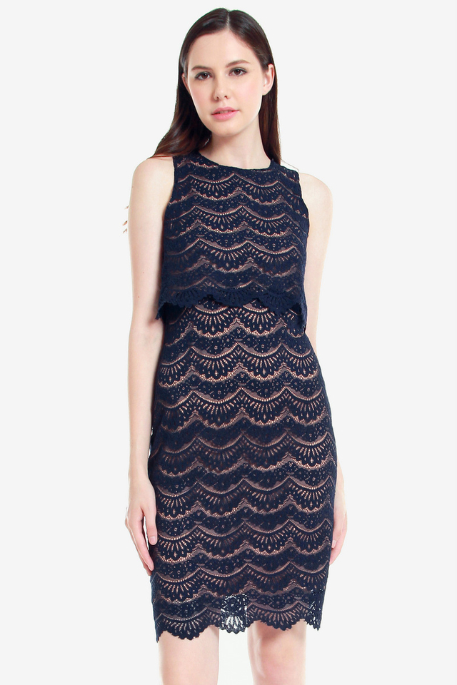Olevia Eyelash Lace Dress (Blue)
