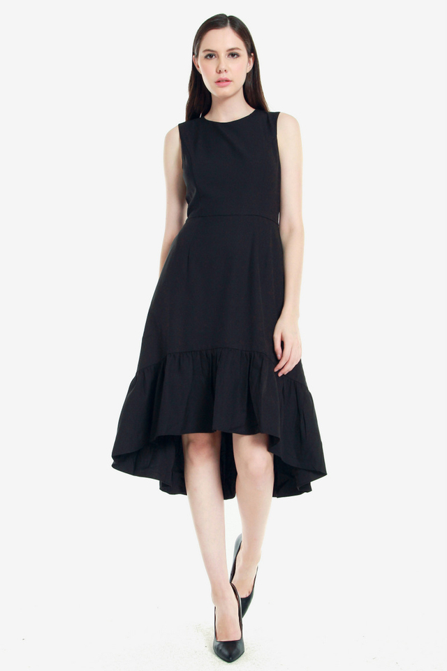 Asley High Low Flutter Dress (Black)