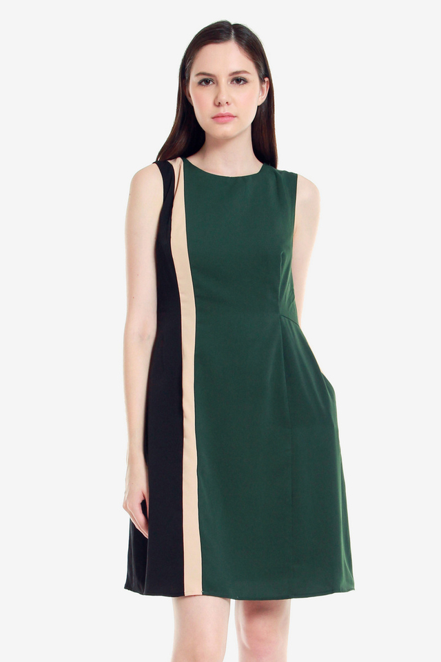 Alissa Panel Sheath Dress (Forest Green)