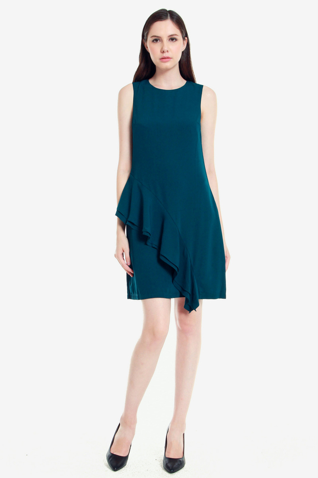 Andre Side Ruffle Dress (Teal)