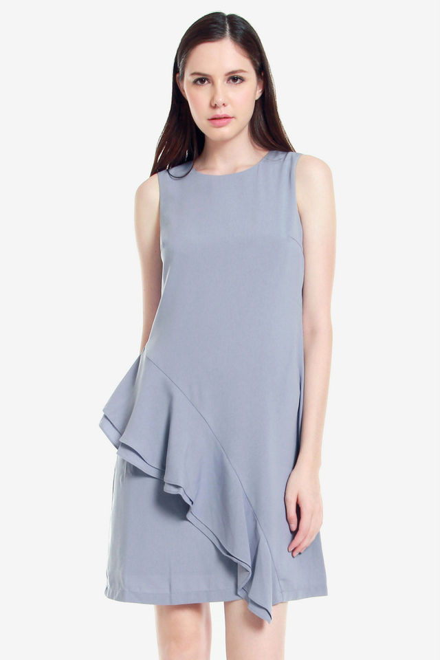Andre Side Ruffle Dress (Ash Blue)