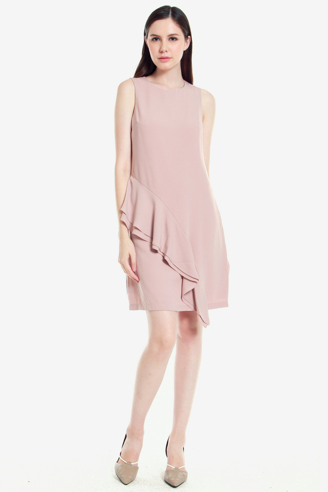 Andre Side Ruffle Dress (Pink)