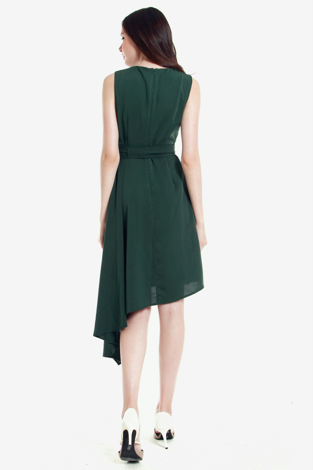 Ressie Asymmetrical Sash Dress (Green)