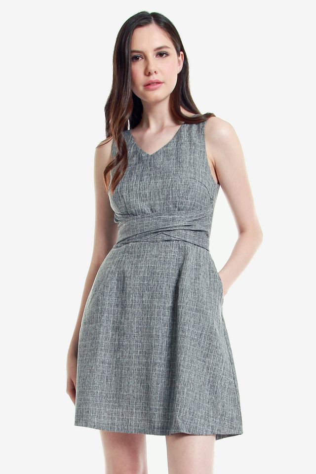 Hertha V Neck Fit and Flare Dress (Grey)