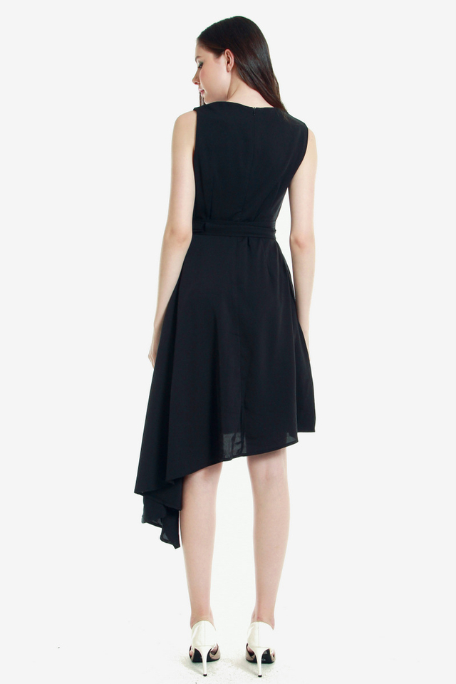 Ressie Asymmetrical Sash Dress (Black)