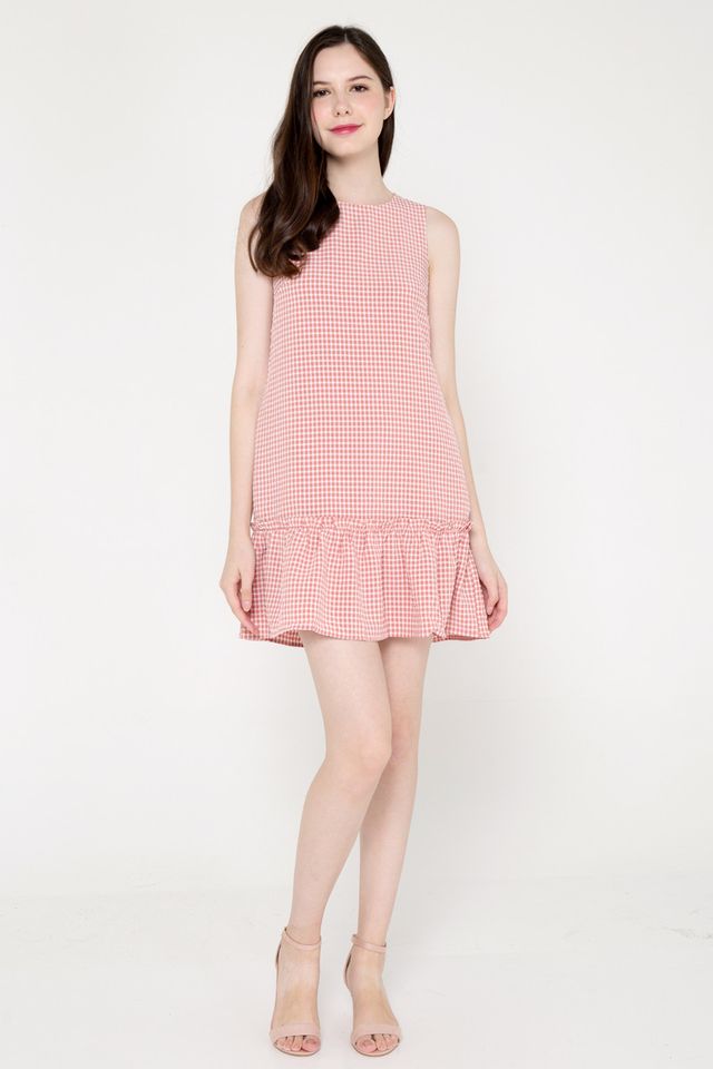 Burton Ruffle Hem Dress (Pink Gingham)