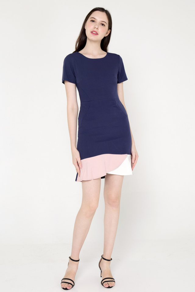 Salinas Sleeve Dress (Navy Blue)