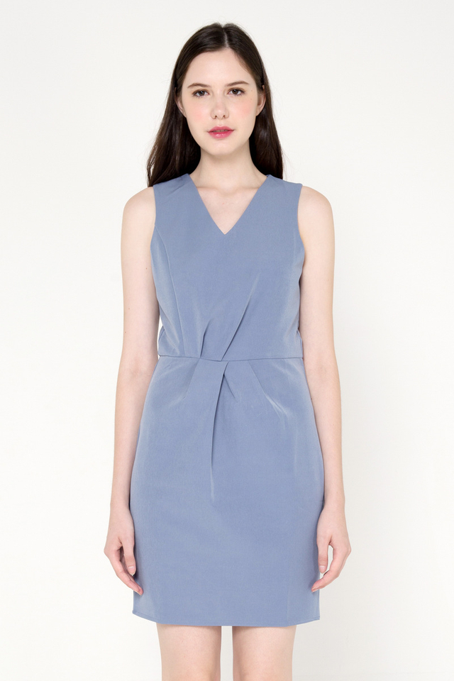 Jovan V Neck Tulip Pocket Work Dress