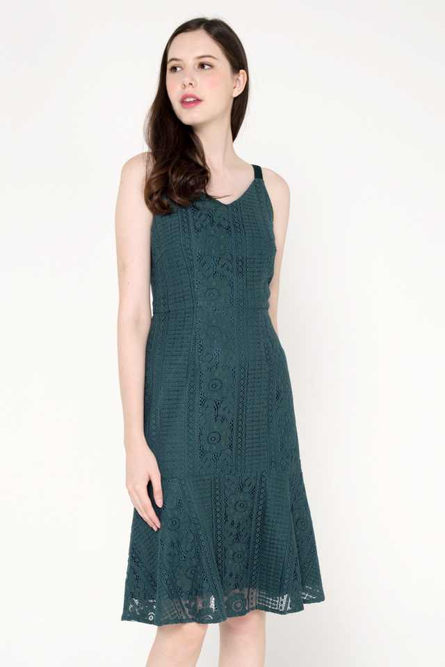 Breanna Lace Dress (Forest Green)