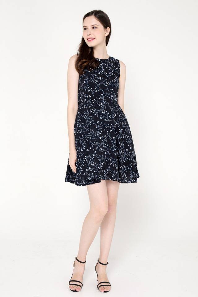 Myles Floral Fit and Flare Dress (Black)
