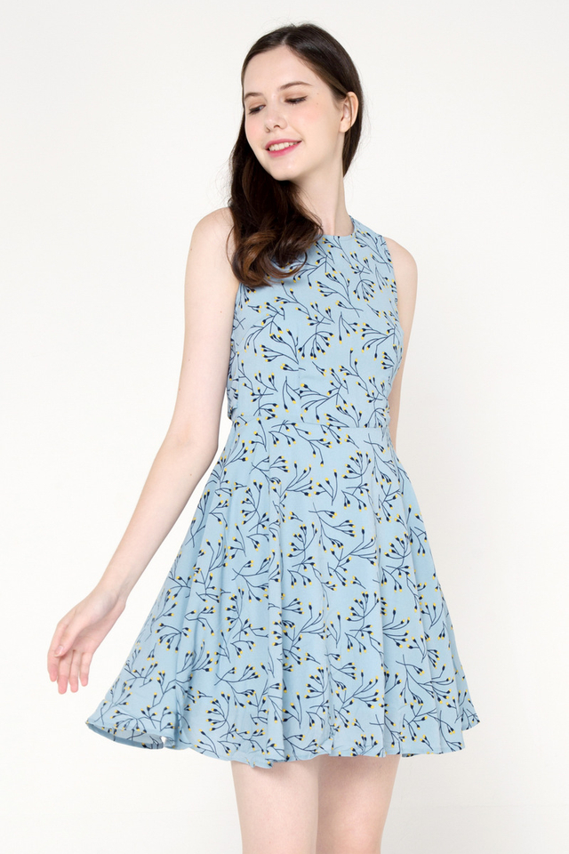Myles Floral Fit and Flare Dress (Blue)