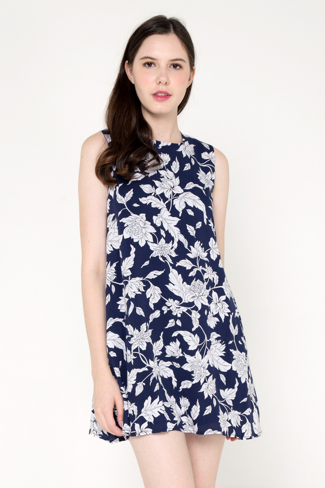 Shavon Floral Trapeze Dress (Blue)