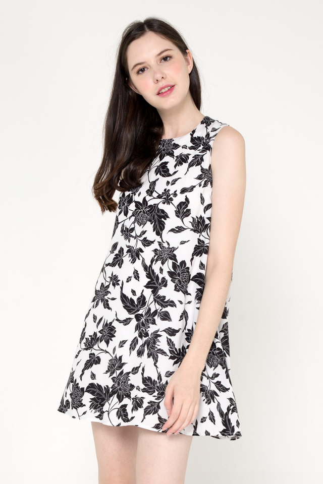 Shavon Floral Trapeze Dress (White)