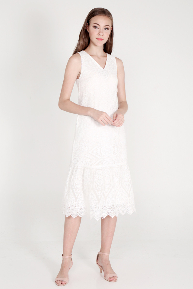 Ozelle Organza Midi Dress (White)