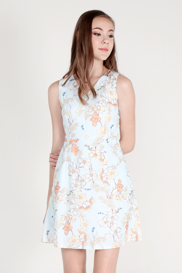 Jarvis V Neck Floral Dress (Blue)