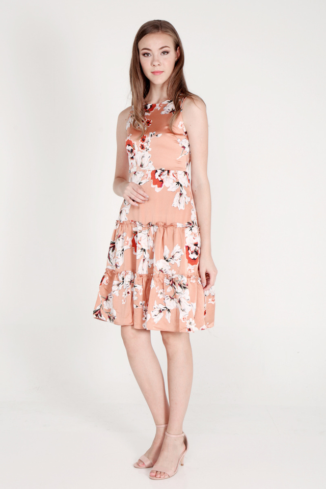 Salley Tier Ruffle Floral Dress (Orange)