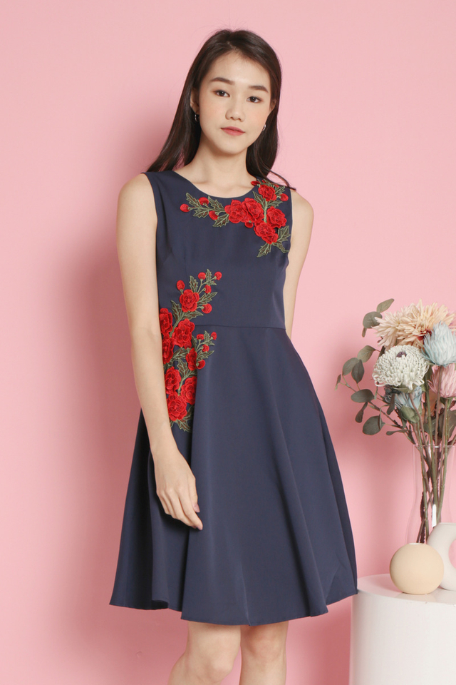 Avelina Floral Fit and Flare Dress (Navy Blue)