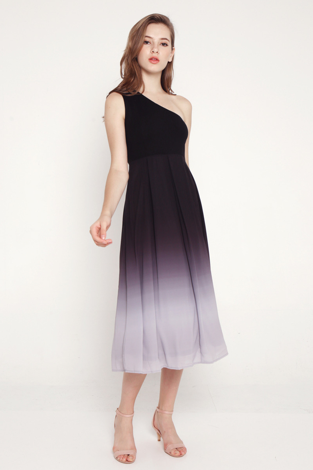 Valencia Toga Midi Dress (Black/Grey)