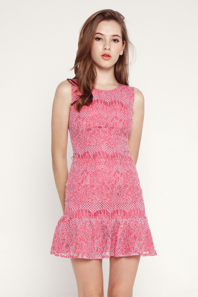Iraida Lace Flutter Hem Dress (Pink)