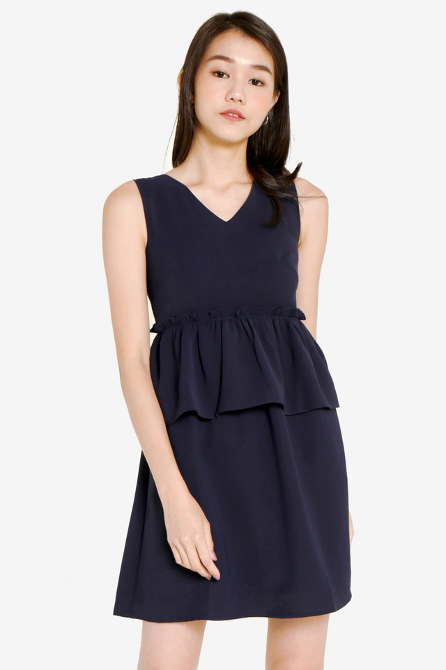 Jessia Double Peplum Dress (Navy Blue)