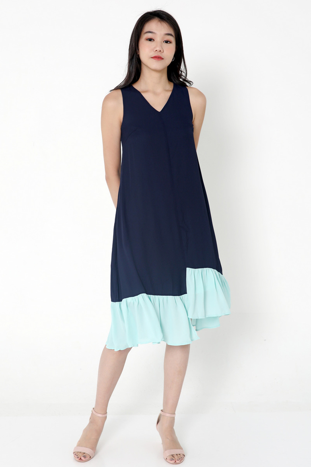 Janyce Colourblock Midi Dress (Blue)