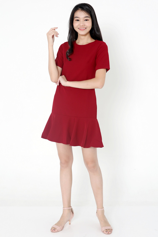 Simone Sleeved Dropwaist Dress (Deep Red)
